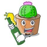 Avec le cactus d'étoile de mascotte de bière décorez dans le jardin illustration de vecteur