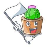 Avec le cactus d'étoile de mascotte de drapeau décorez dans le jardin illustration libre de droits