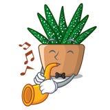Avec le cactus de zèbre de bande dessinée de trompette fleurissant dans le jardin illustration stock