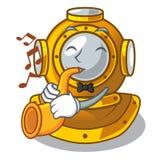 Avec le caractère de casque de plongée de forme de trompette dans le cabinet illustration stock
