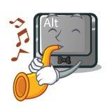 Avec le caractère de la trompette alt le bouton a attaché le clavier illustration stock
