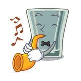 Avec le caractère de verre à liqueur de trompette dans le réfrigérateur illustration de vecteur