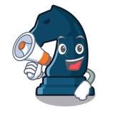 Avec le chevalier d'échecs de mégaphone dans la forme de mascotte illustration stock