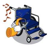 Avec le fauteuil roulant de bande dessinée de trompette dans une chambre d'hôpital illustration stock
