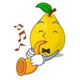 Avec le fruit jaune mûr de coing de trompette sur la mascotte illustration de vecteur