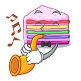 Avec le gâteau d'arc-en-ciel de trompette dans la forme de bande dessinée illustration de vecteur