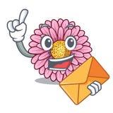 Avec le gerbera d'enveloppe la fleur colle la tige de mascotte illustration stock