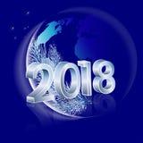 2018 avec le globe de la terre Image stock