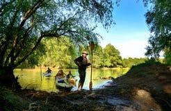 Avec le kayak dans le delta de Danube, la Roumanie Photos libres de droits