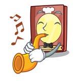 Avec le livre de recette de trompette dans la forme de bande dessinée illustration de vecteur