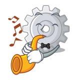 Avec le mécanisme d'arrangements de vitesse de trompette sur la forme de mascotte illustration stock