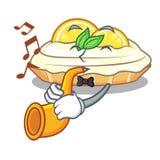Avec le morceau de bande dessinée de trompette de tarte de meringue de citron délicieux illustration stock