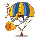 Avec le parachute de vol de trompette dans le ciel de mascotte illustration stock