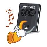 Avec le passeport de noir de trompette sur la table de mascotte illustration stock