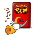 Avec le passeport rouge de trompette sur la table de mascotte illustration de vecteur