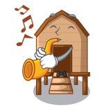 Avec le poulet de trompette dans a sur la cage de charater illustration libre de droits