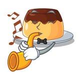 Avec le pudding de chocolat de caramel de trompette sur la bande dessinée drôle illustration de vecteur