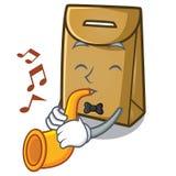 Avec le sac de papier de trompette dans la forme de bande dessinée illustration de vecteur
