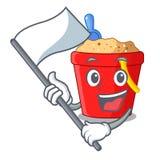 Avec le seau de plage de drapeau dans la mascotte de forme de ficelle illustration libre de droits