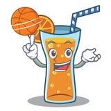 Avec le style de bande dessinée de caractère de cocktail de basket-ball Image stock
