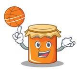 Avec le style de bande dessinée de caractère de confiture de basket-ball Photo stock