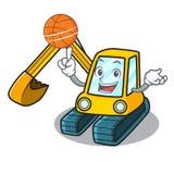 Avec le style de bande dessinée de caractère d'excavatrice de basket-ball Image libre de droits