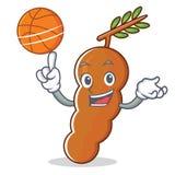 Avec le style de bande dessinée de caractère de tamarinier de basket-ball Image libre de droits