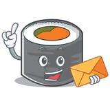 Avec le style de personnage de dessin animé de sushi d'enveloppe illustration libre de droits