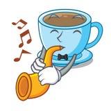 Avec le thé de lait de trompette dans le caractère la forme illustration libre de droits
