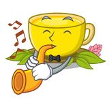 Avec le th? de safran des indes de trompette dans la forme de bande dessin?e illustration de vecteur