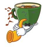 Avec le thé indien de masala de trompette dans la tasse de bande dessinée illustration libre de droits