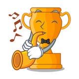 Avec le trophée d'or de champion de trompette sur la table de bande dessinée illustration de vecteur