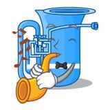 Avec le tuba de trompette dans la bande dessinée drôle de forme illustration de vecteur