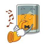 Avec le verre de trompette de whiskey de bande dessinée au-dessus de table illustration stock