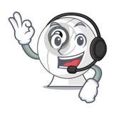 Avec le webcam de bande dessinée d'écouteur dans drôle cette forme illustration de vecteur
