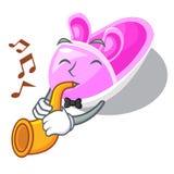 Avec les chaussures de bébé mignonnes de trompette dans la bande dessinée de forme illustration de vecteur