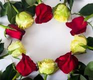 avec les roses rouges et jaunes Photographie stock libre de droits