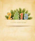 2015 avec un arbre de Noël sur le vieux fond de papier