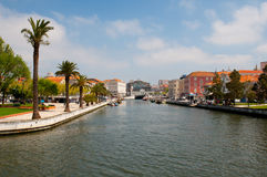 Aveiro city view. Boats on the river. Portugal. Stock Photography