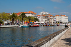 Aveiro city view. Boats on the river. Portugal. Royalty Free Stock Images