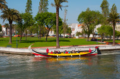 Aveiro city view. Boats on the river. Portugal. Stock Photos