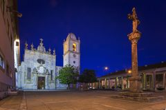 Aveiro famous cathedral by nights in Portugal Royalty Free Stock Image