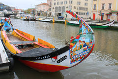 Aveiro fiskebåtar Arkivfoton