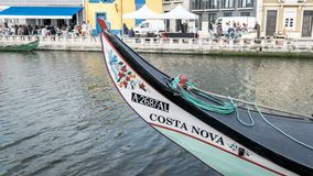 View of colorful hand painted details of traditional Moliceiro gondolas in Aveiro, Portugal stock photo