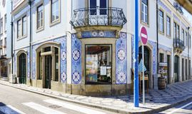 Aveiro / Portugal August 13, 2017.Fachada of a typical village h royalty free stock photography