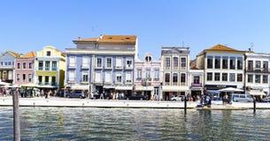 Aveiro/Portugal Augusti 13, 2017: Fasader av typiska byggnader Arkivbilder