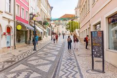 Aveiro, Portugal Brukował ulicę w dziejowym centre turystyczny miasteczko Aveiro Aveiro, Zdjęcie Royalty Free