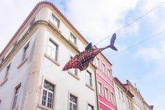Aveiro, Portugal Brukował ulicę w dziejowym centre turystyczny miasteczko Aveiro Aveiro, Zdjęcia Stock