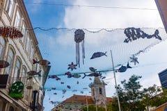 Aveiro, Portugal Brukował ulicę w dziejowym centre turystyczny miasteczko Aveiro Aveiro, Obraz Stock
