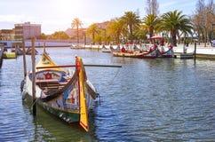 AVEIRO, PORTUGAL - 21 DE MARÇO DE 2017: boatsl tradicional, Aveiro, Portugal Fotografia de Stock